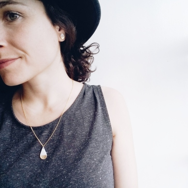 The minimal gold dipped teardrop vinyl record pendant necklace.