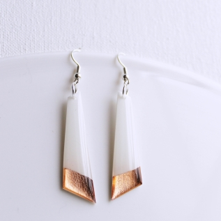 Copper dipped white vinyl record earrings by Dana Jewellery Designed and handcrafted in Ireland