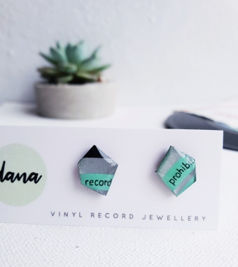 One of a kind vinyl record stud earrings, handrafted from a recycled vinyl record